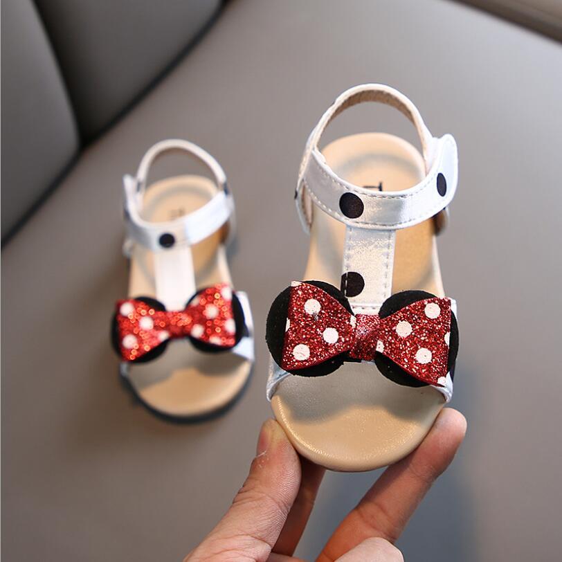 Girls Summer Cartoon Sandals Baby Girls Cute Bowtie Soft Leather Princess Sandals Anti Slip Rubber Beach Shoes