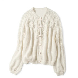 Spring Women Hollow Out Knitted Cardigan O Neck Solid Color Single Breasted Knitted Sweater Knitwear