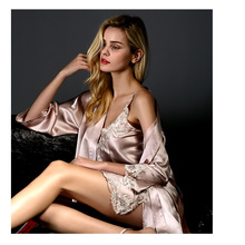 100% Real Silk Pajamas for Women Night dress 2 Pcs Kimono Robe & Silk Nightgown Sleepwear pajama Sets 100% Silk Pyjamas femme