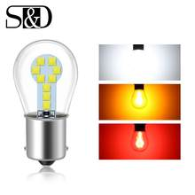 Светодиодный стоп-сигнал для автомобиля, красный, янтарный, белый, 1156 BA15S P21W, 1157 BAY15D P21/5W, светодиодный R5W R10W, лампа для указателей поворота авт...