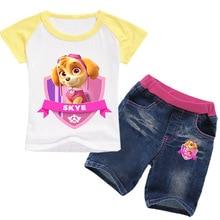 باو باترول ملابس الفتيات صيف جديد للأطفال قصيرة الأكمام تي شيرت دعوى الكرتون المطبوعة الخرق الفتيات الملابس دعوى