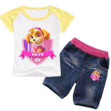 Paw סיירת בנות בגדי קיץ ילדים חדשים עם שרוולים קצרים חולצה חליפת cartoon מודפס סמרטוטים בנות בגדי חליפה