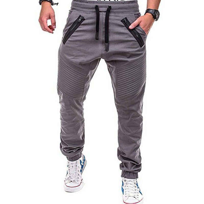 Men Skinny Slim Cargo Track Pants Fitness Tracksuit Sports Trousers Sweatpants