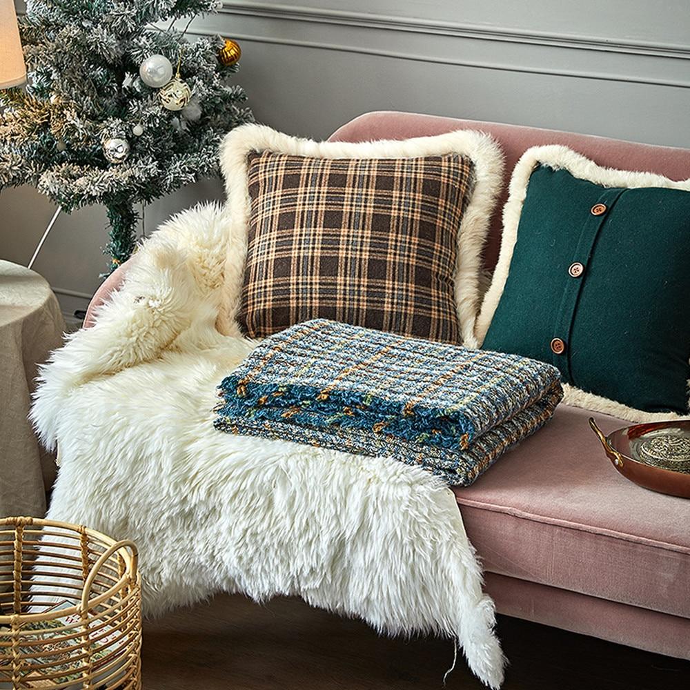 Wool throw blanket travel picnic bedding blanket modern - 6