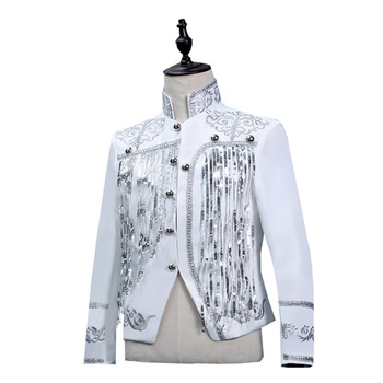 Shiny Tassel Sequins Glitter Blazer Men Palace Flower Embroidery Mens White Suits Grooms Singer Paillette Jacket Homme 2XL