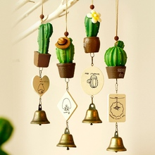 Succulent Plants Wind Chimes Romantic Wall Hanging Decoration Bedroom Pendant Cactus Ornament Living Room Crafts Gift Home Decor