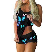 Conjunto de pijamas femininos de impressão borboleta com decote em v estiramento cetim babydoll rendas lingerie sexy pijamas casa wear noite senhora