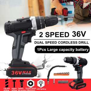 36V Electric Screwdriver Cordless Power Drills Wireless Power Driver DC Lithium-Ion Battery 2-Speed with Drill bit accessories
