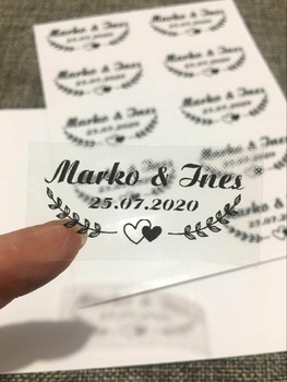 100 personalized rectangular labels, wedding stickers, transparent custom logo names and