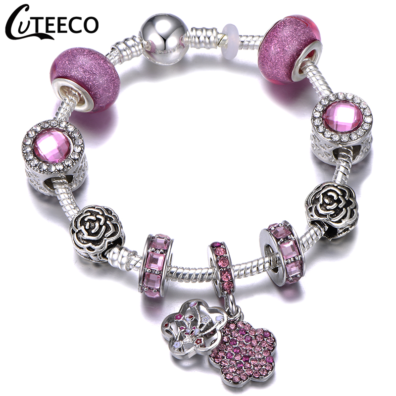 H56f5b09c6275470b8d8abf7ff1696debJ - CUTEECO Antique Silver Color Bracelets & Bangles For Women Crystal Flower Fairy Bead Charm Bracelet Jewellery Pulseras Mujer