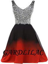 Gardlilac 2020 черное красное платье с v образным вырезом Омбре