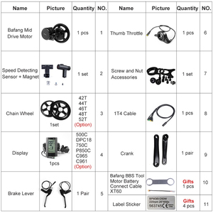 Image 3 - Mid Motor Kits 48V 500W Bafang E BIKE Conversie Crank Drive Borstelloze Ebike BBS02 BBS02B 8FUN Motor Elektrische Fiets onderdelen