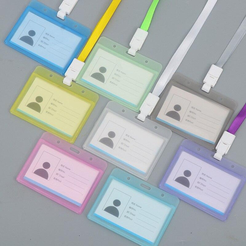 Multi-color Waterproof Cross Transparent Plastic Work Card Office Badges Card Holder
