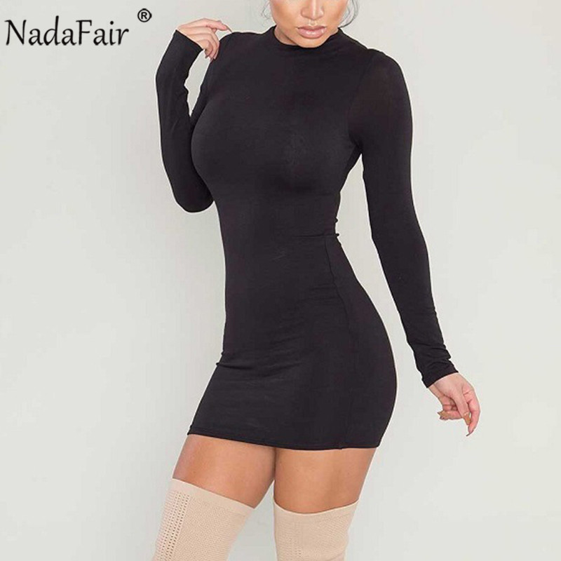 Nadafair Autumn Turtleneck Long Sleeve Bodycon Dress Women Back Zip Winter Basic Wrap Mini Casual Dress Black Burgundy|Dresses|   - AliExpress