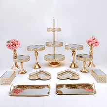 Dessert-Holder Cake-Stands-Set Crystal Afternoon Tea Birthday-Party Wedding with 3-Tiers-Mirror