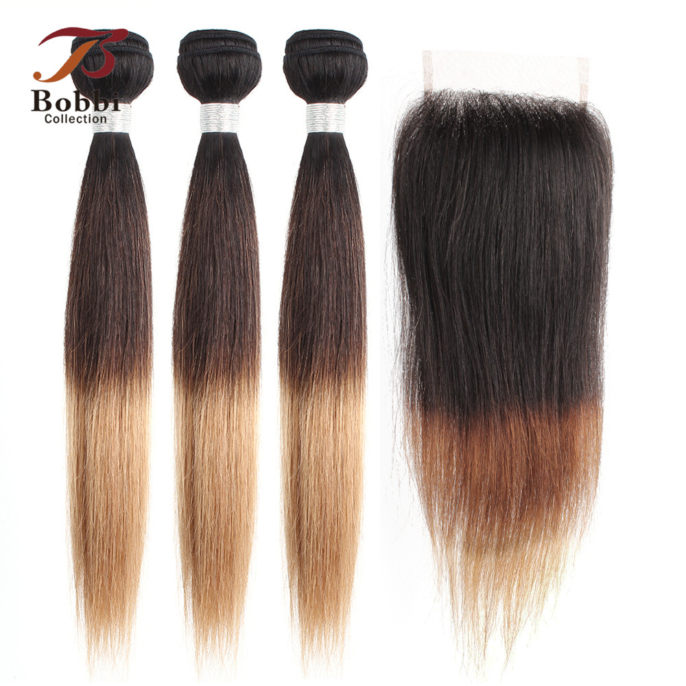 Bobbi Collection 2/3 Bundles With Lace Closure 1B 4 27 Brown Blonde Ombre Straight Non-Remy Human Hair