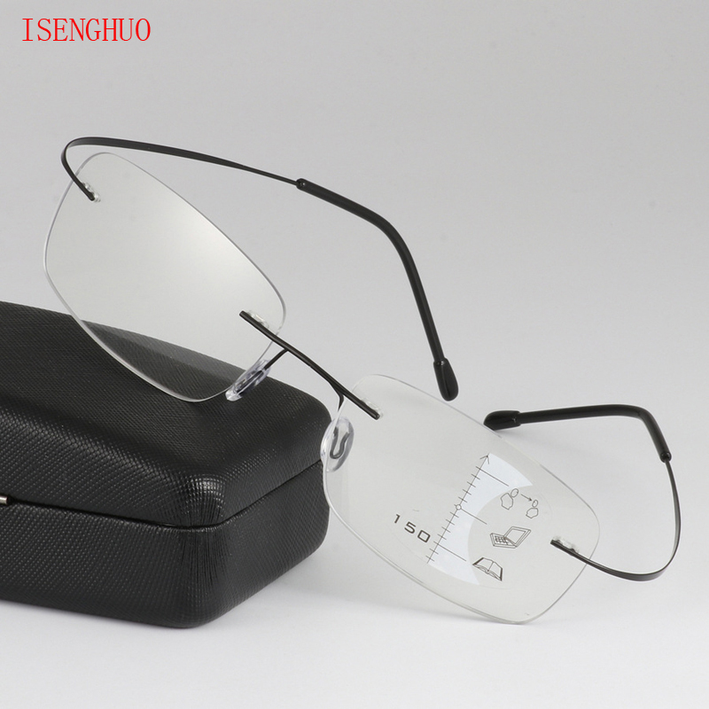 Rimless Eyewear Smart Zoom Titanium Progressive Reading Glasses Men Women Presbyopia Hyperopia Multifocal Glasse 1.0-3.0