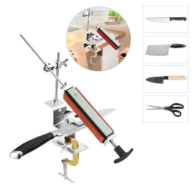Sistema professionale per affilare i coltelli da cucina con 4 pezzi di pietre per affilare + lega di alluminio + Set di strumenti per affilare i coltelli con clip G