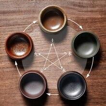 Каменная керамика пять известных печи маленькая чайная чашка пять элементов чашка кунг-фу зеленый чай галстук Гуань Инь японская керамика чайная посуда подарочная коробка