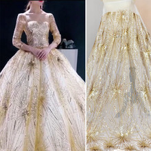 GLace 1Y/Lot Glitter Embroidered gold sequins lace fabric wedding dresses home decoration fabric handmade accessories TX1569(China)