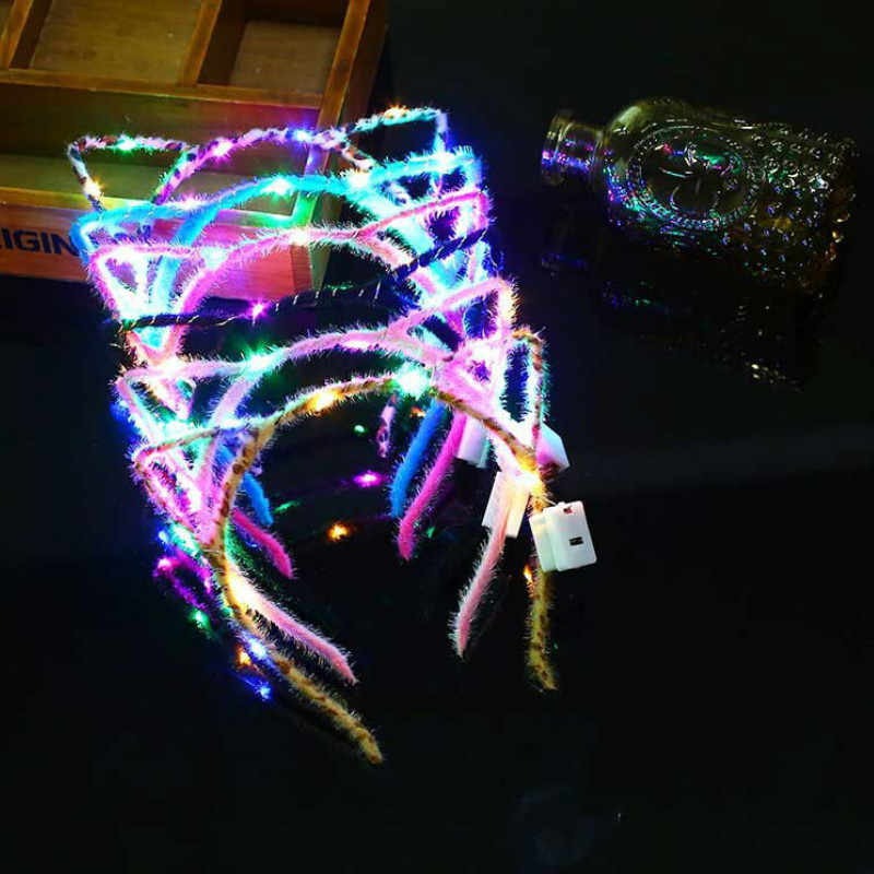 1 Pza Led Ear Cat Shaped LED diademas fiesta luz intermitente parpadeante fiesta sombreros accesorios navideños para cabello brillo fiesta
