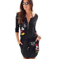 ATKULLQZ Women Summer Autumn Mickey Dress 2019 Lady O Neck Fashion Casual Midi Dresses Elegant Cute Female Black Pleated Dress