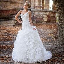 アップリケビーズ真珠プリーツホワイトトランペットのウェディングドレスとフリルスカート vestido デ noiva sereia 王女人魚のガウン