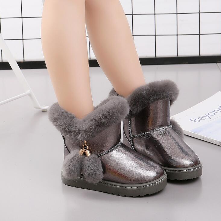 26-36 Thick Warm Fur Children's Snow Boots 2019 Winter New Warm Boys And Girls Fashion Plush Kids Boots Princess Shoes Sneakers