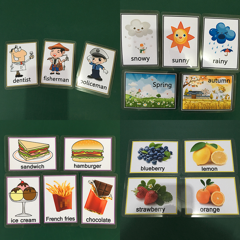 82Pcs/Set Kid Weather/Profession Children English Learning Word Card Study Teaching Pocket FlashCard Montessori Educational Toy
