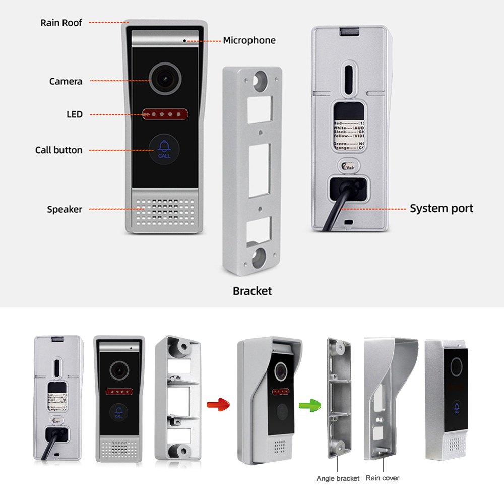 Jeatone 7inch Monitor Video Intercoms Home Security System Video Doorbell Door phone