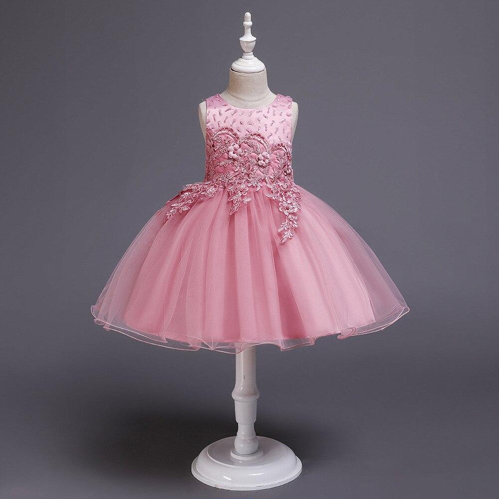 Girl'S New Style Children Sleeveless Vest Embroidery Dress Powder CHILDREN'S DAY Performance Formal Dress Princess Puffy Mesh Dr