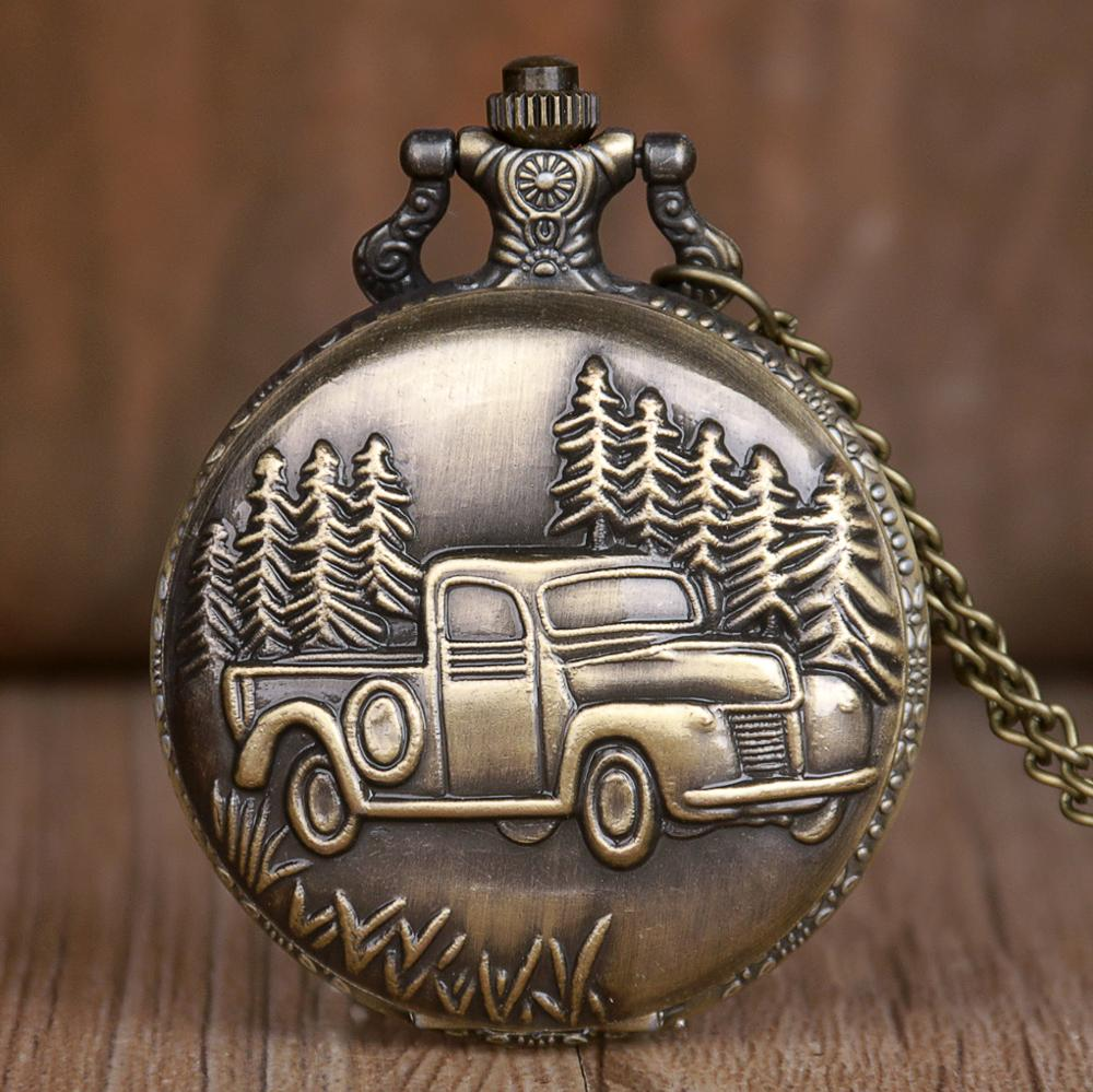 New Antique Car Truck Pendant Quartz Pocket Watch Necklace Chain Mens New Gift For Men Women