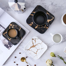 Мраморная кофейная чашка японская черно белая и блюдце Стеклянная