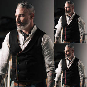 Suit Vest Retro American Double-Breasted Mens And Fashion with Button Slim Handsome