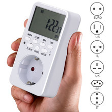 EU US Plug Electronic Digital Timer Switch Time Relay 230V Kitchen Timer 12/24 Hour Programmable Timing Socket Switch Controller 220v digital cumulative time counter resetable timer count working hour