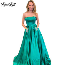 Real Rill Strapless Prom Dresses Stain Beaded Lace Up Back Floor Length Party Dress With Pockets