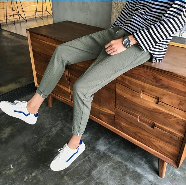 K0061 MEN'S Casual Pants 9 Points Korean-style Slim Fit BOY'S Skinny Sports Ninth Pants Sub-Men's Teenager A Pieces Of Hair