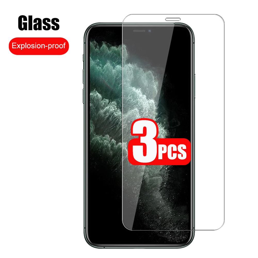 3PCS Full Cover Tempered Glass On the For iPhone 11 12 Pro X XR XS MAX SE 5 5s Screen Protector On iPhone 7 8 6 6s Plus Glass