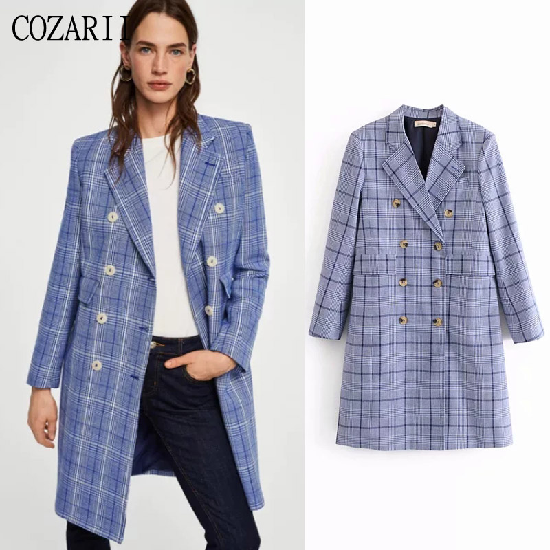 Women Blazers Collar-Pockets Plaid Long Stripe Double-Breasted Mujer No Notched Full