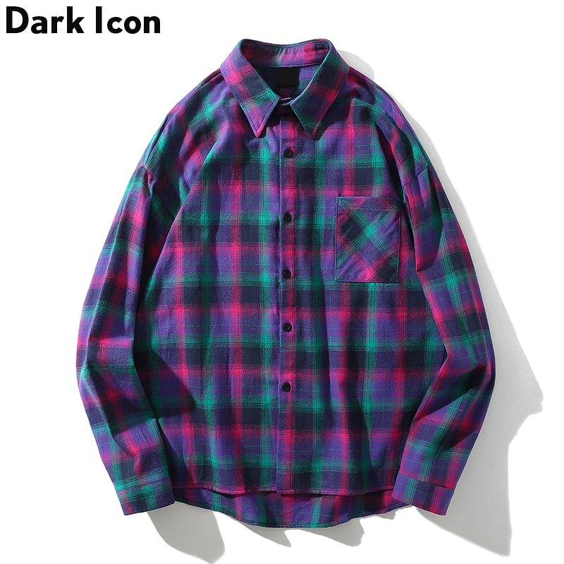 Dark Icon Turn-down Collar Flannel Plaid Sihrt Men Fashion Hip Hop Shirt 2019 Summer Street Long Sleeve Shirts Streetwear