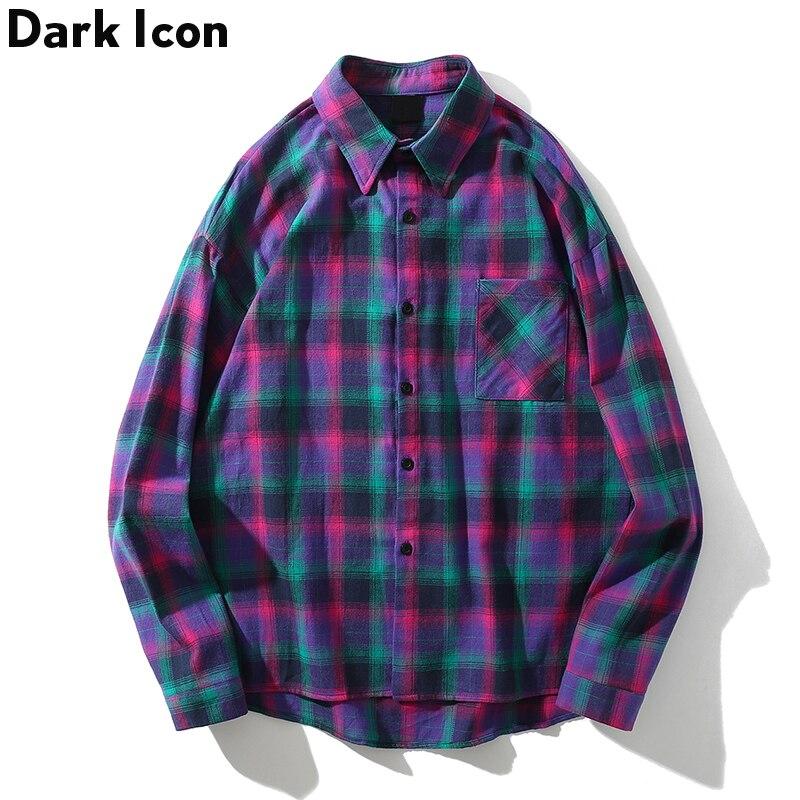 Dark Icon Turn-down Collar Flannel Plaid Sihrt Men Fashion Hip Hop Shirt 2019 Summer Street Long Sleeve Shirts Streetwear