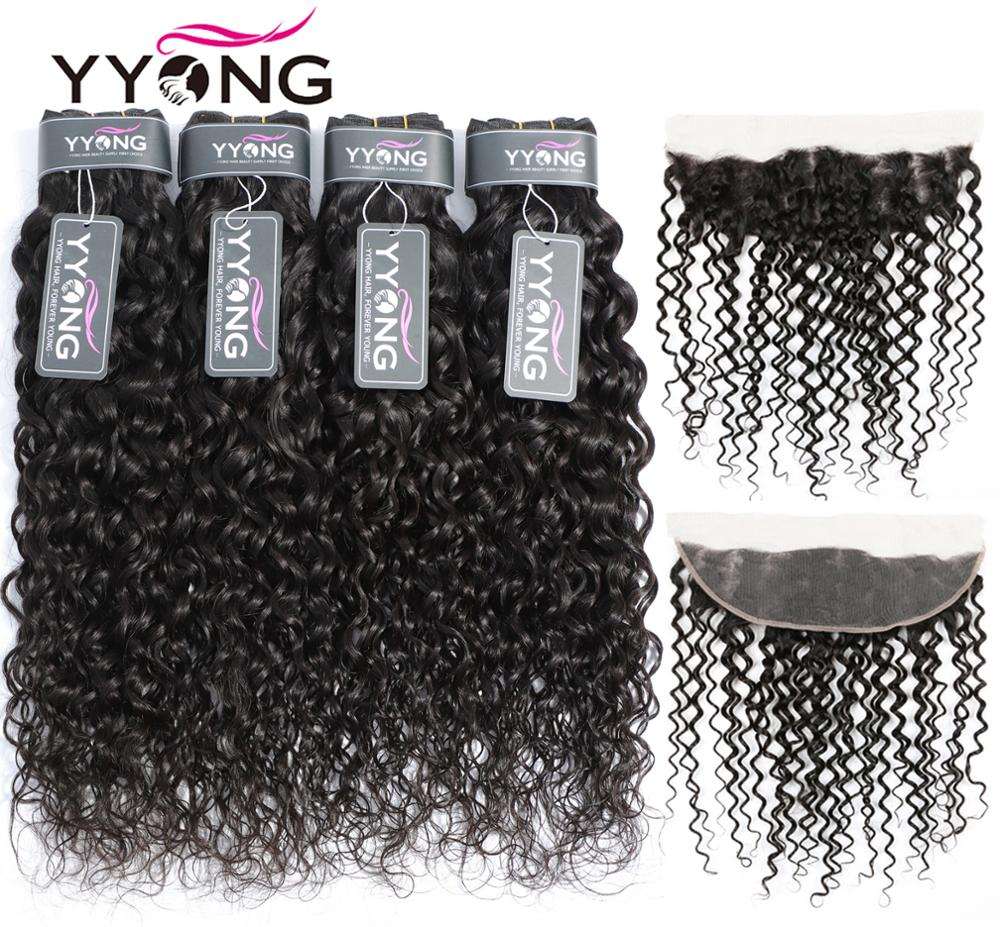 Yyong 13x4 Lace Frontal With Bundles 3/4 Piece   Water Wave  Bundle With Frontal Low Ratio Hair  1