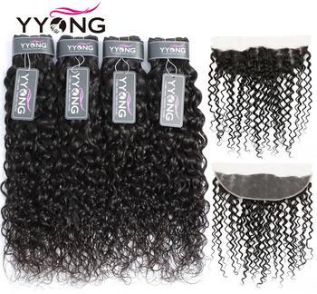 Yyong 13x4 кружевной фронтальный пряди 3/4 шт. бразильские волнистые человеческие волосы Remy пучок с фронтальным низким коэффициентом наращивани