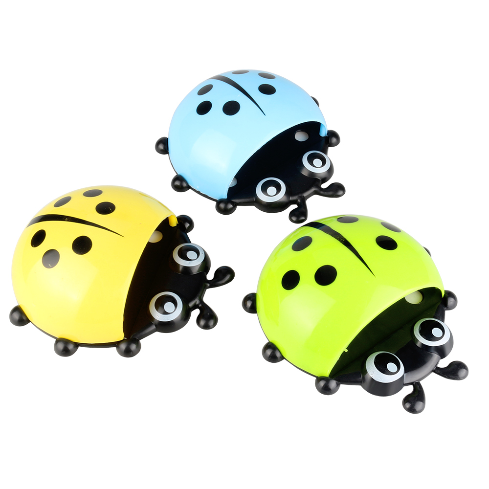 Ladybug bee Sucker Children Kids Toothbrush Holder Suction Hooks Toothbrush Wall Suction Bathroom Sets image