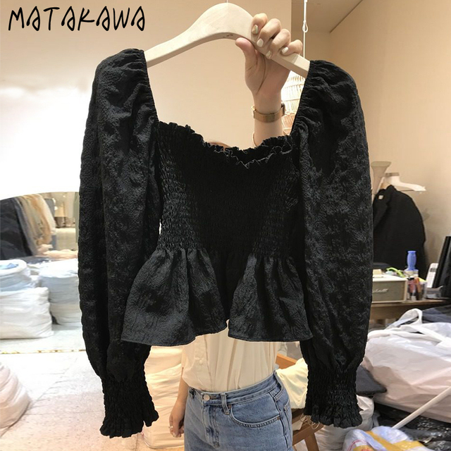 MATAKAWA Elastic Slim Backless Bottoming Shirt Korea Square Neck Puff Sleeves Blusas Mujer De Moda Pleated Blouse Women 1