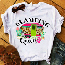 Women T Womens Graphic Cartoon Leopard Camping Queen Vintage Top Tshirt Female Tee Shirt