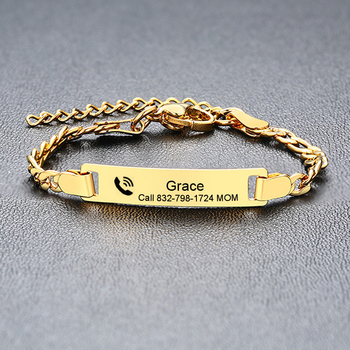 Personalize Baby Name Bracelet Figaro Chain Smooth Bangle Link Gold Tone No Fade Safty Jewelry 1