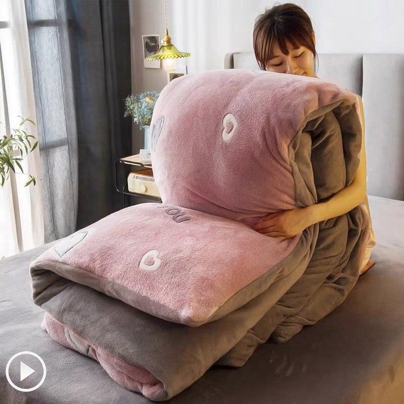 JUSTCHIC зимнее двустороннее утолщенное снежное флисовое стеганое одеяло с милым РИСУНКОМ ДЕТСКОЕ пуховое одеяло, покрывало для дивана, одеяло AB версия|Пододеяльник|   | АлиЭкспресс - Мой любимый дом