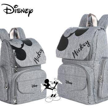 Disney torba na pieluchy dla mamy macierzyńska torba na pieluchy dla dzieci opieka nad dzieckiem designerski plecak podróżny Mickey torby torebka szara i czarna tanie i dobre opinie CN (pochodzenie) Poliester zipper (30 cm Max Długość 50 cm) 19cm diaper bag backpack Torby na pieluchy 28cm 41cm