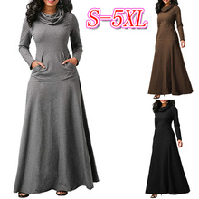 Autumn Sexy Large Cotton Scarf Collar Long Sleeves Maxi Dress Winter Solid Color Pockets Long Office Dresses Gray Black Dress black side pockets long sleeves outerwear